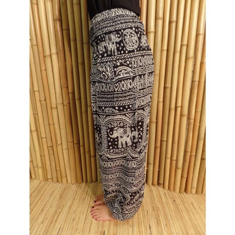 Pantalon noir Phetchaburi éléphants