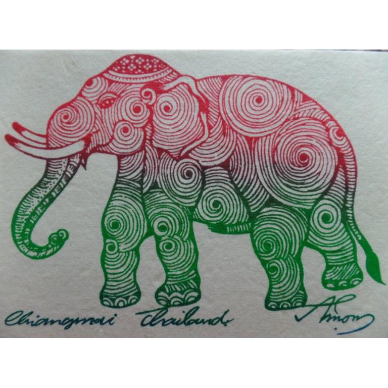 Carte éléphant spires 3 couleurs 2