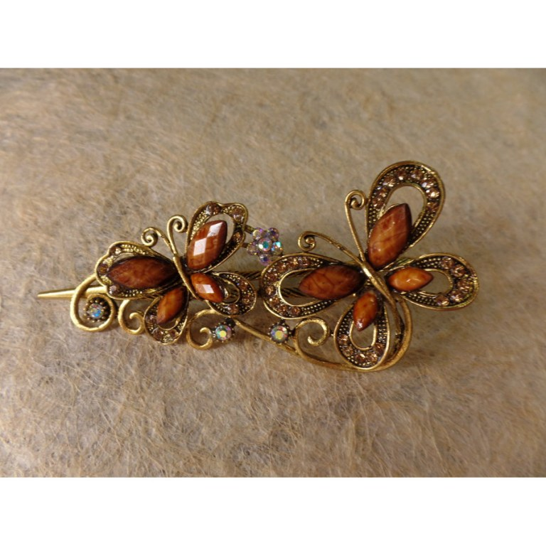Pince strass duo de papillons marron