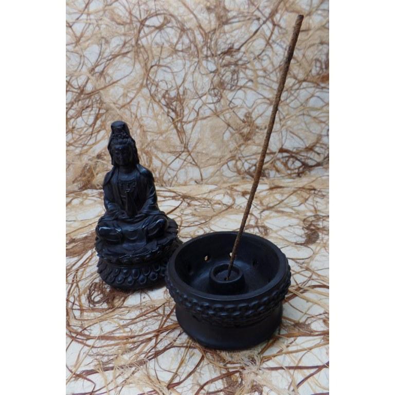 Porte encens noir Bouddha sur son trône