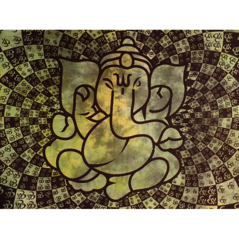Tenture Ganesh lotus aum verte