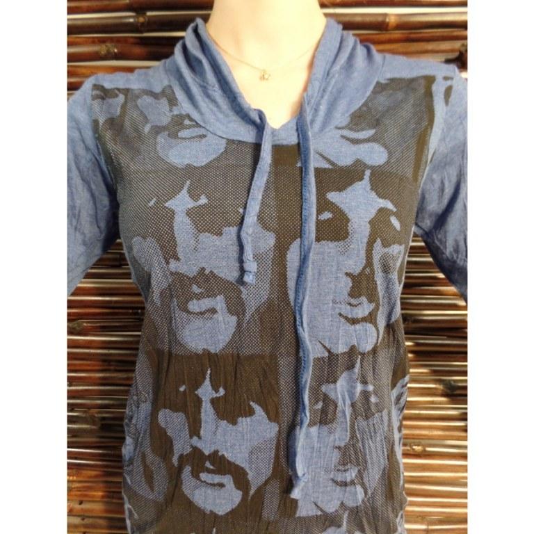 T shirt bleu multi faces