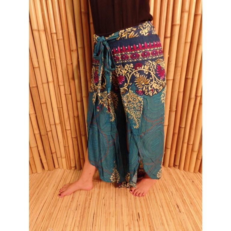 Pantalon wrap bleu