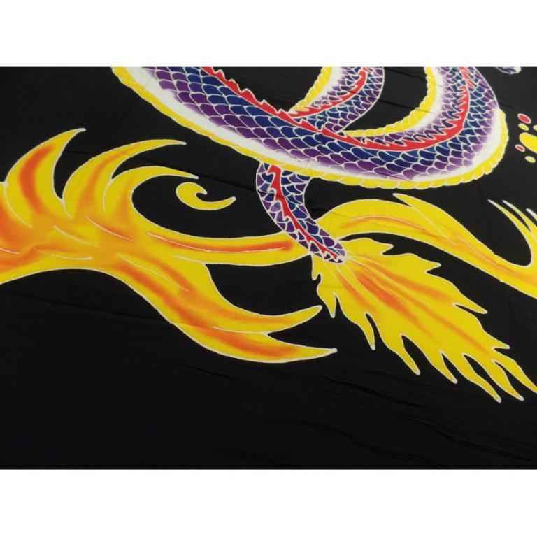 Tenture/paréo dragon 2 têtes violet