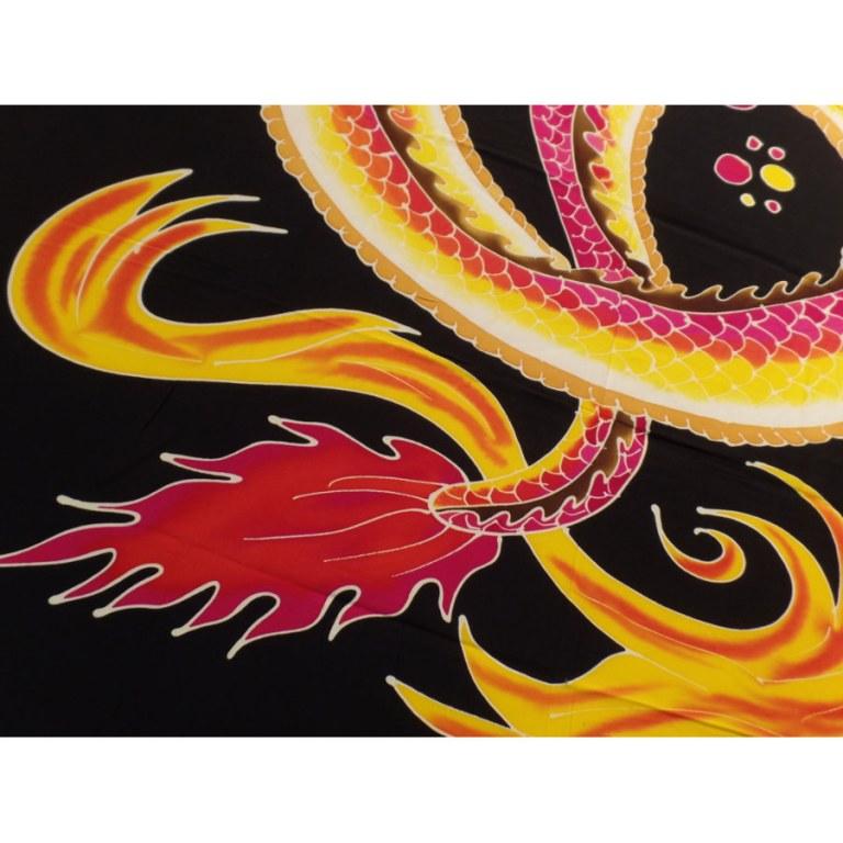 Tenture/paréo dragon 2 têtes rose