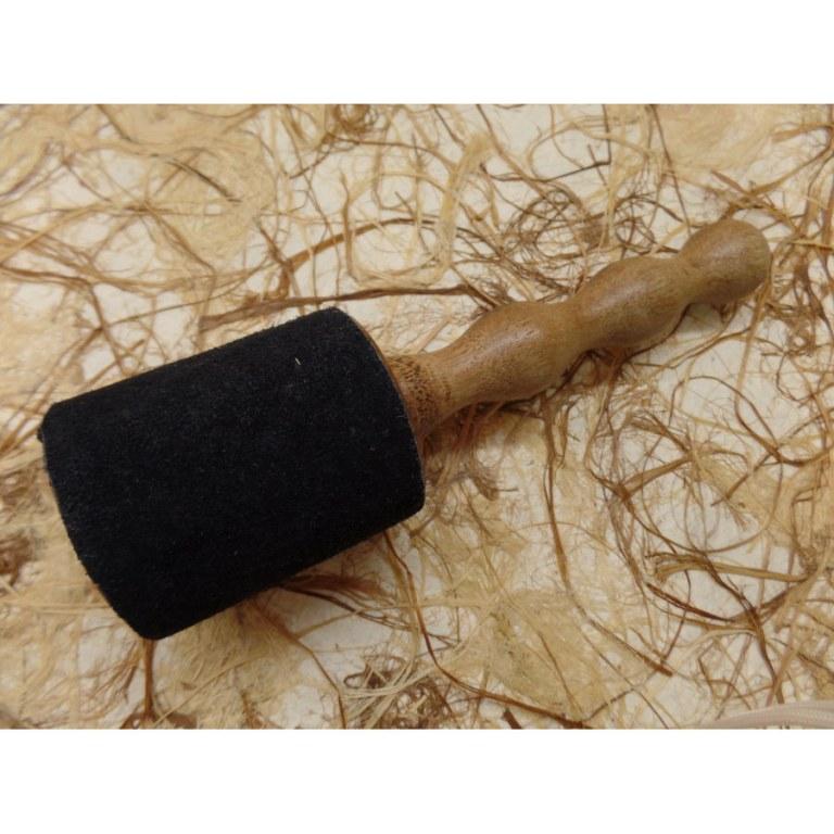 Bâton bois/cuir noir pour bol chantant/gong