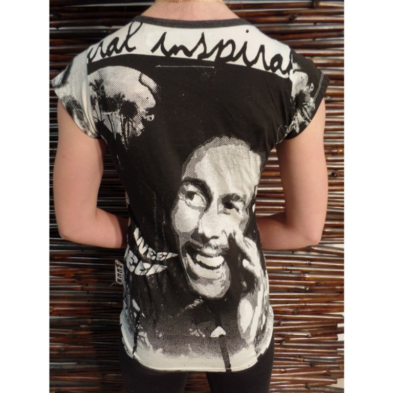 Tee shirt blanc/noir Bob Marley