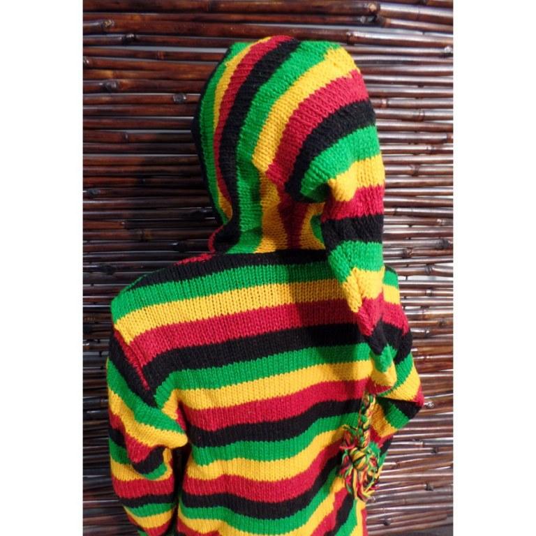 Veste en laine vert/jaune/rouge/noir