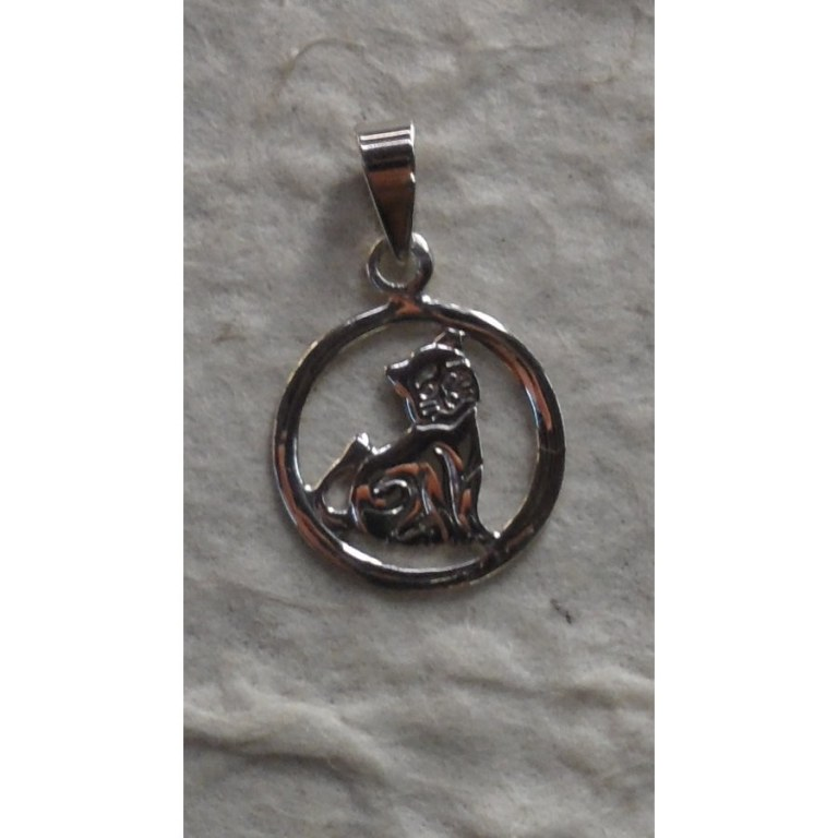 Pendentif rond chat assis