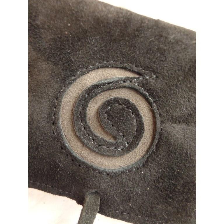 Blague à tabac croûte de cuir noir spirale beige