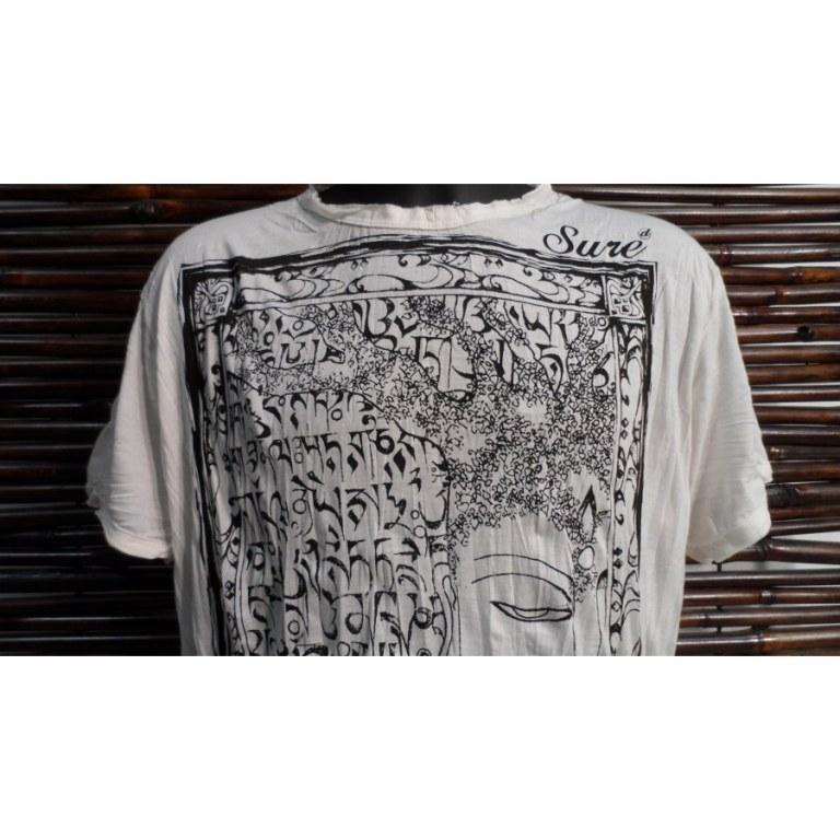 Tee shirt blanc Bouddha arbre