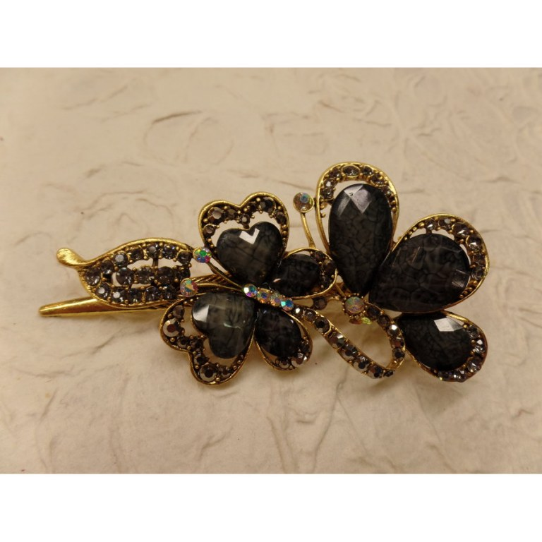 Pince strass les 2 papillons noirs