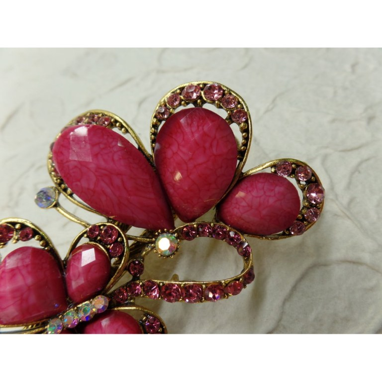 Pince strass les 2 papillons roses