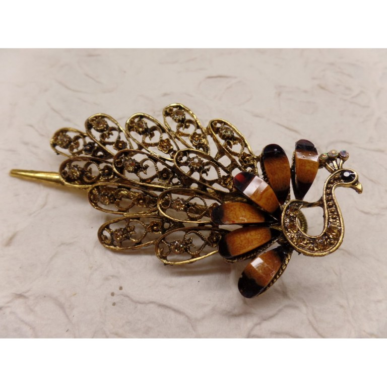 Pince strass le paon marron