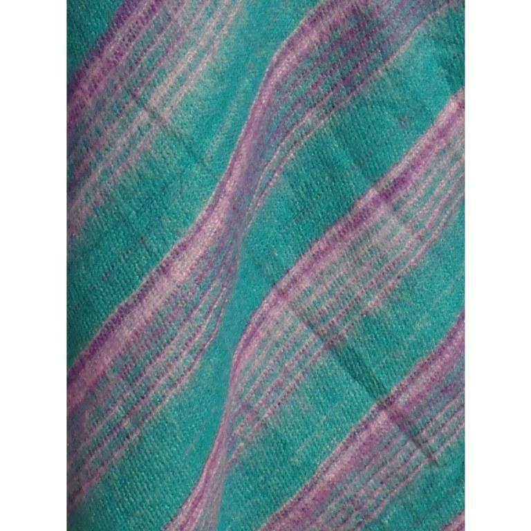 Poncho Makalu turquoise fines rayures