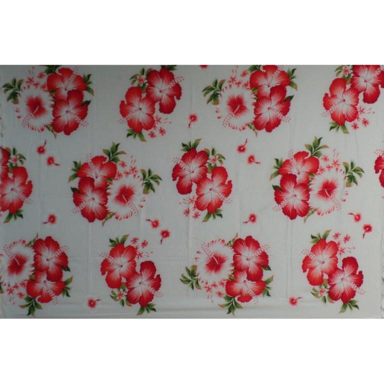 Petite tenture blanche semis d'hibiscus