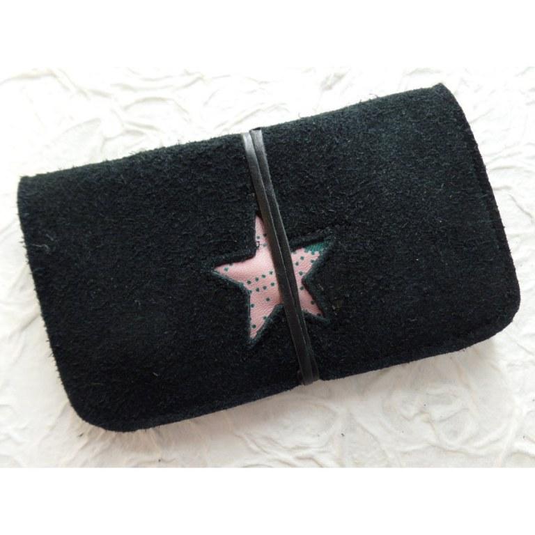 Blague à tabac croûte de cuir noire star rose