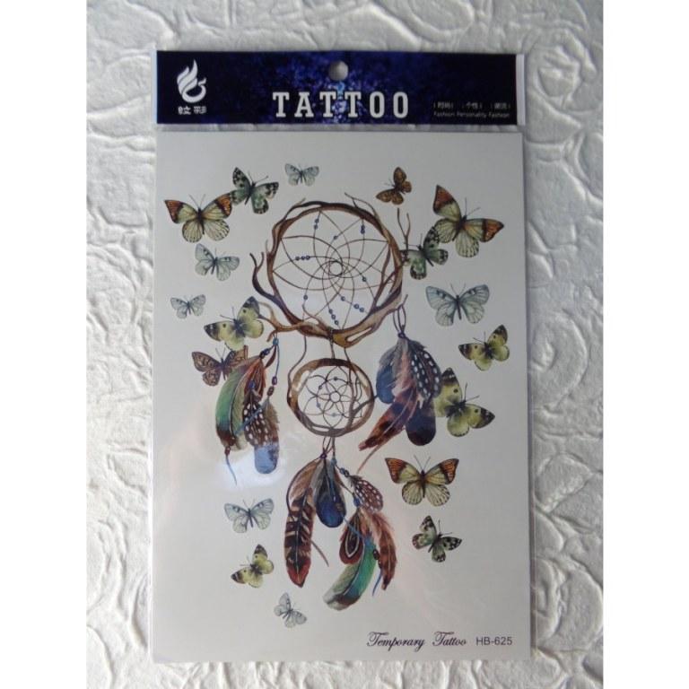 Tatouage attrape rêves papillons color