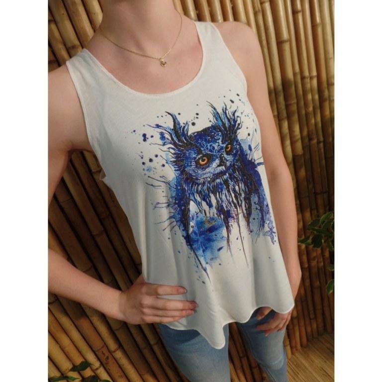 Débardeur hibou bleu