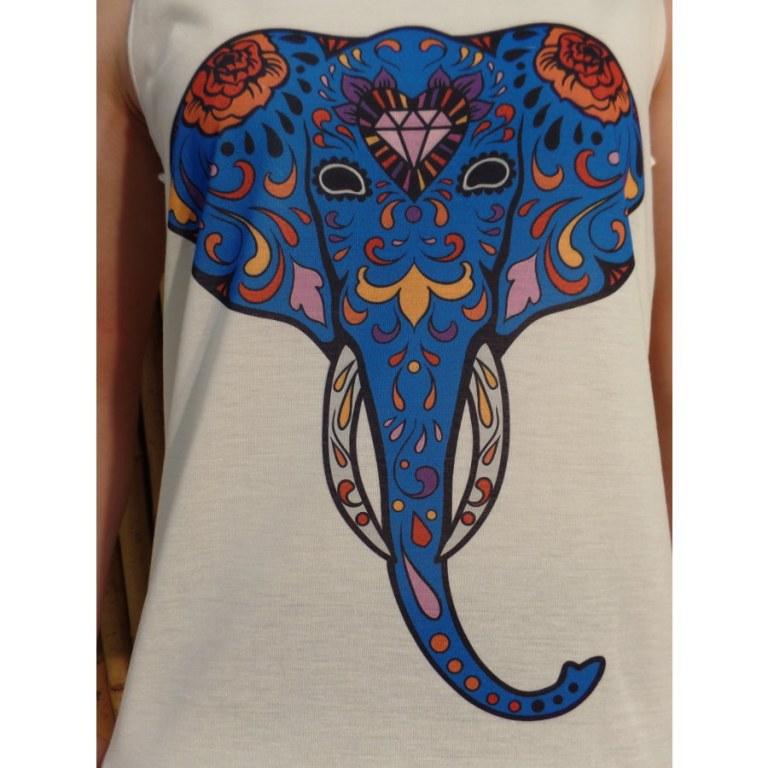 Débardeur tête d'éléphant bleue