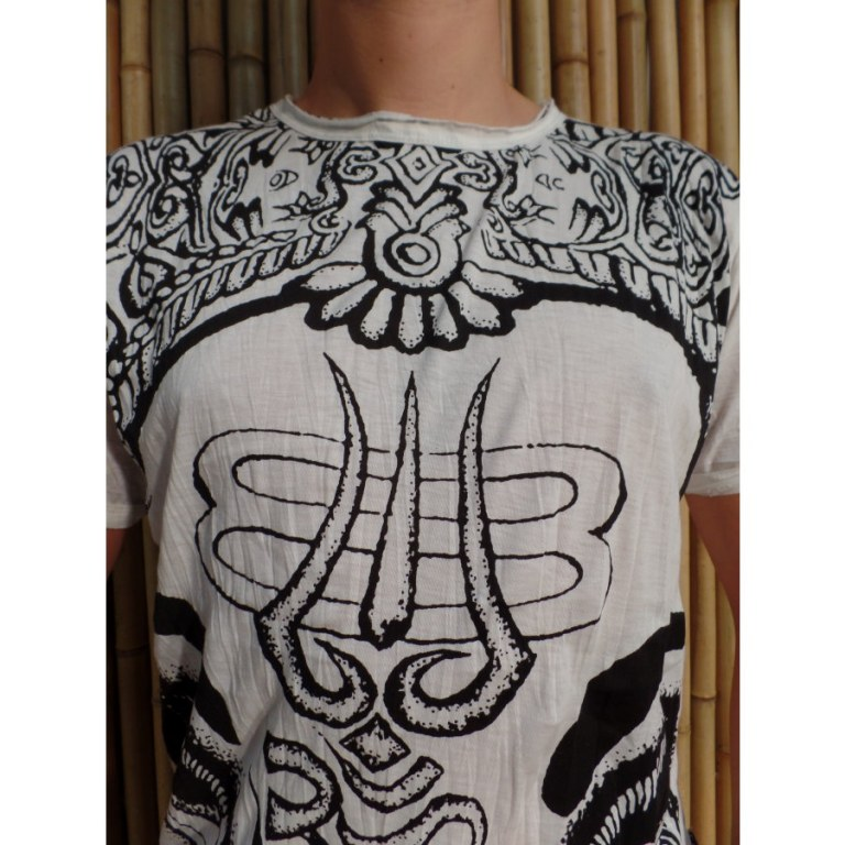 Tee shirt blanc éléphant aum