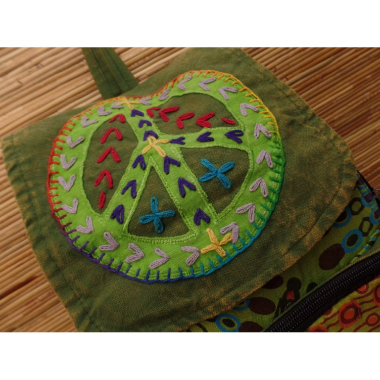 Sac à dos baba peace and love vert