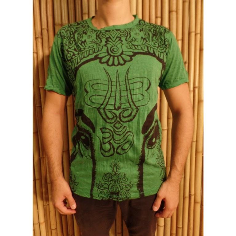 Tee shirt vert éléphant aum
