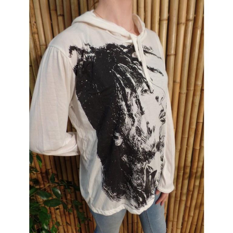 T shirt blanc Bob Marley fumant