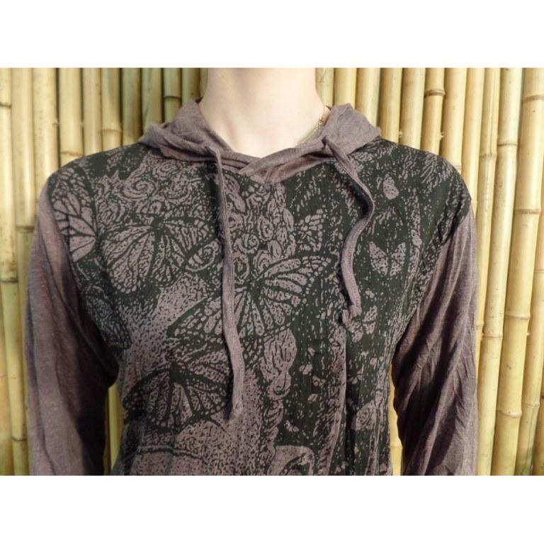 T shirt prune butterfly Bouddha