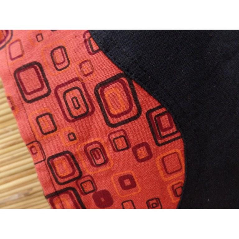 Sacoche noire/orange wave seventies