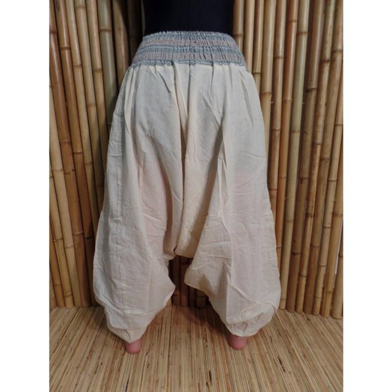 Pantalon smocks Karnali écru