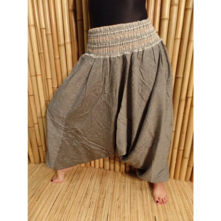 Pantalon smocks Karnali gris chiné