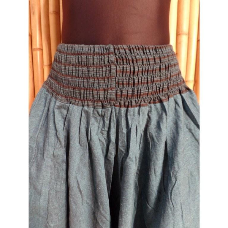 Pantalon smocks Karnali bleu chiné