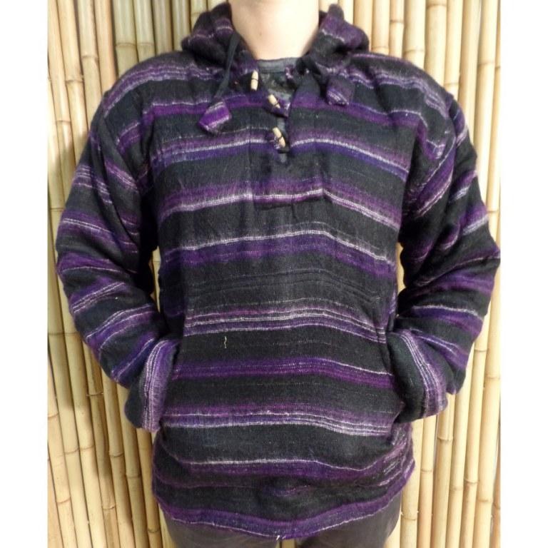 Veste sweat Makalu noire rayée violet