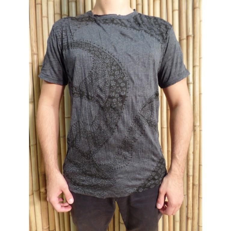Tee shirt Bouddha flower anthracite