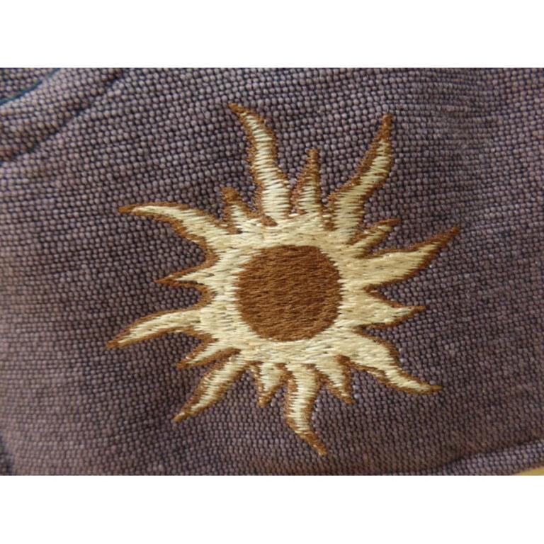 Sacoche marron zébrée brodée soleil