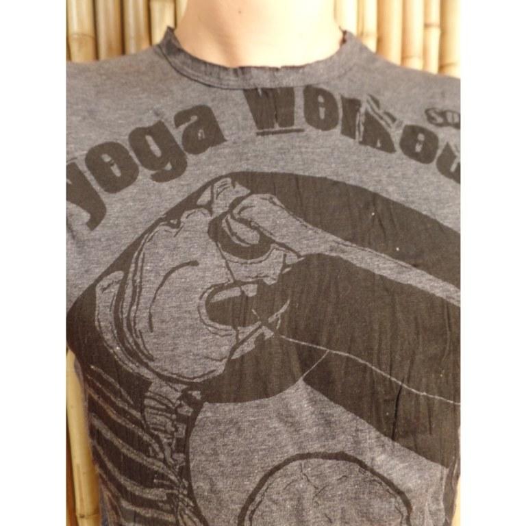 Tee shirt entrainement de yoga anthracite