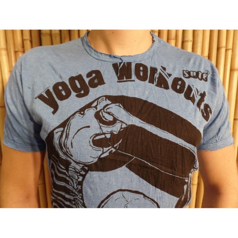 Tee shirt entrainement de yoga bleu foncé