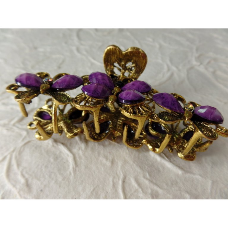 Pince strass farfalle violet