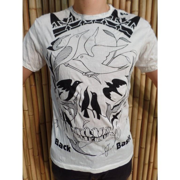 Tee shirt blanc tête de mort oiseaux