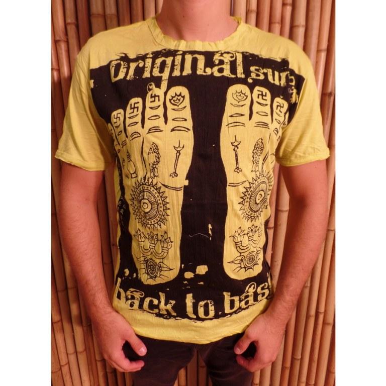 Tee shirt jaune les pieds de Bouddha