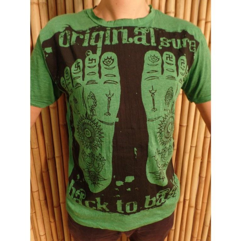 Tee shirt vert les pieds de Bouddha