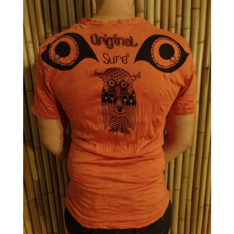 Tee shirt orange chouette enigma