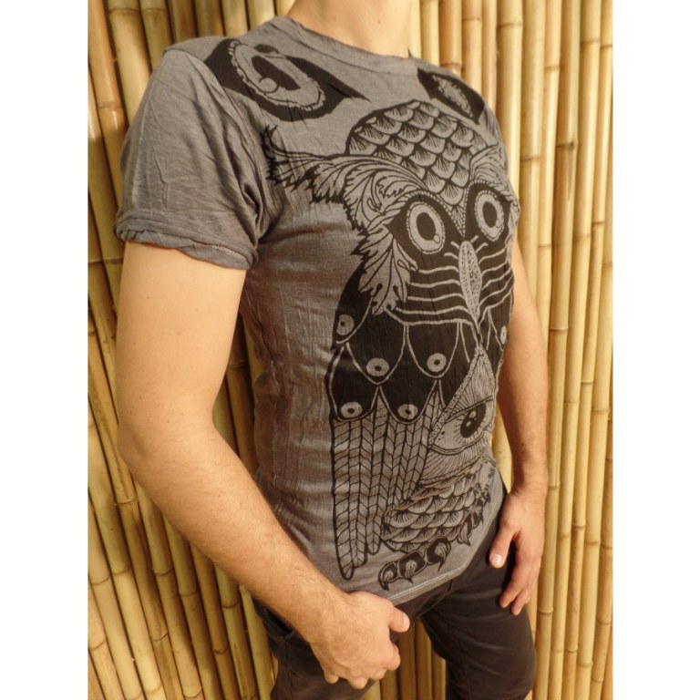 Tee shirt gris ardoise chouette enigma