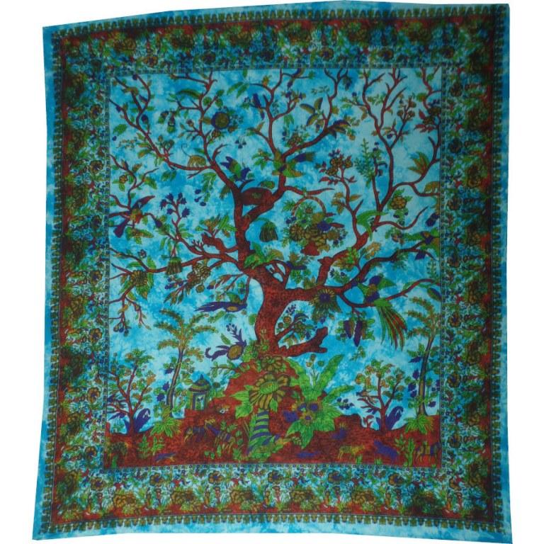 Maxi tenture arbre de vie bleu