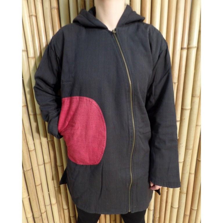 Veste ethnik noir poche rouge