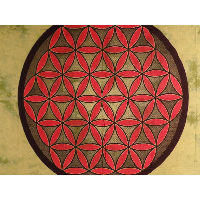 Tenture maxi fleur de vie vert/rouge