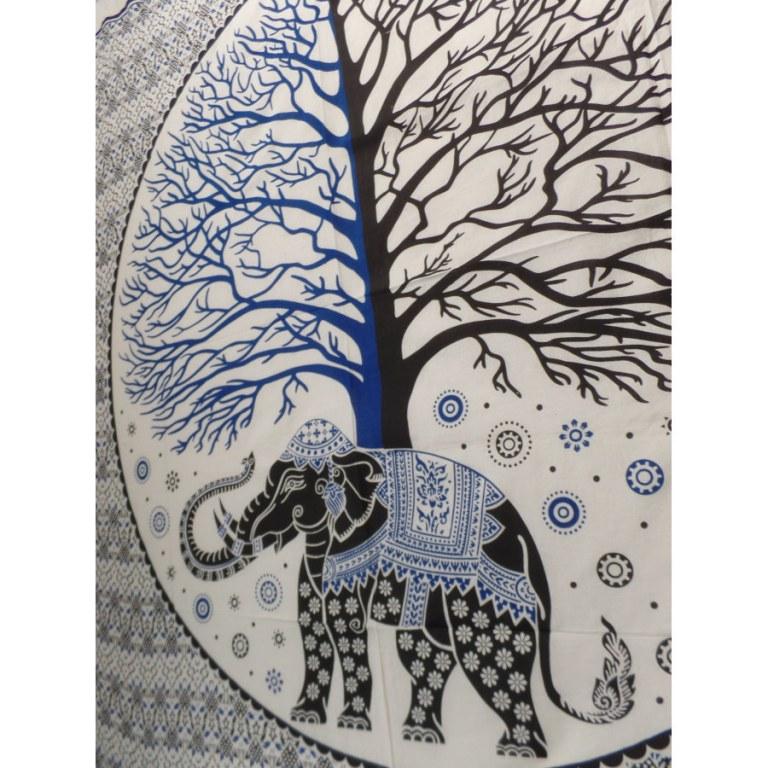 Tenture maxi arbre de vie/éléphant bleu/noir