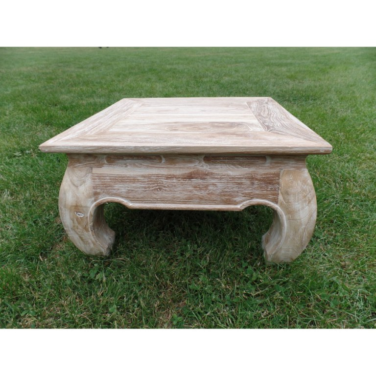 Table bois c rus for Table basse bois blanc ceruse