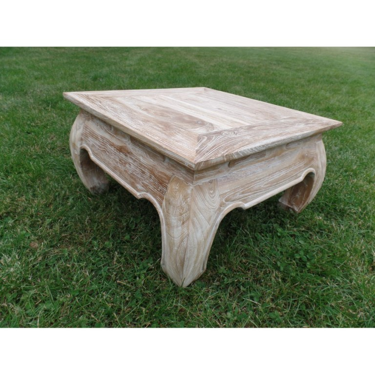 Table basse bois blanc ceruse for Table basse blanc bois